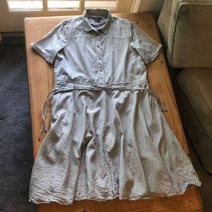 Armani Exchange Striped Tie Waist Shirt Dress